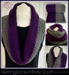 Herringbone Infinity Scarf A Free Crochet Pattern by The Purple Poncho