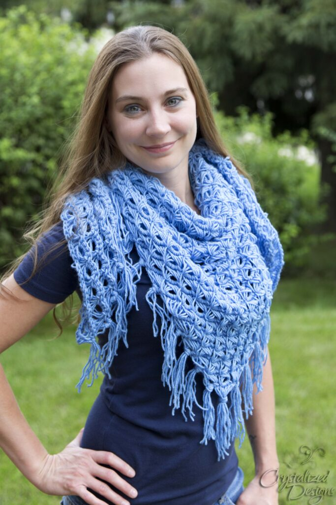 broomstick lace triangle scarf crochet pattern