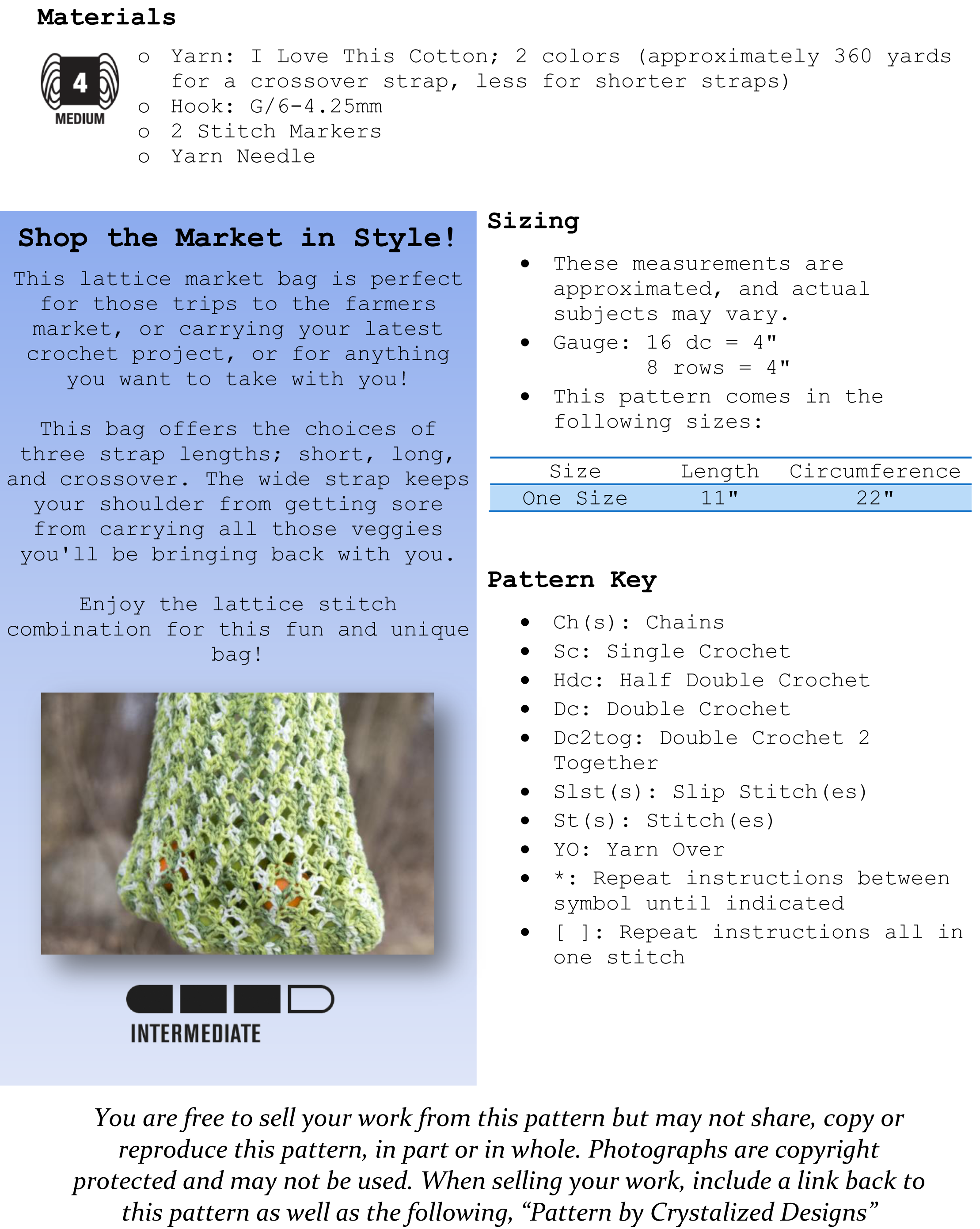 Garden Greens Market Bag Free Crochet Pattern Pg 1