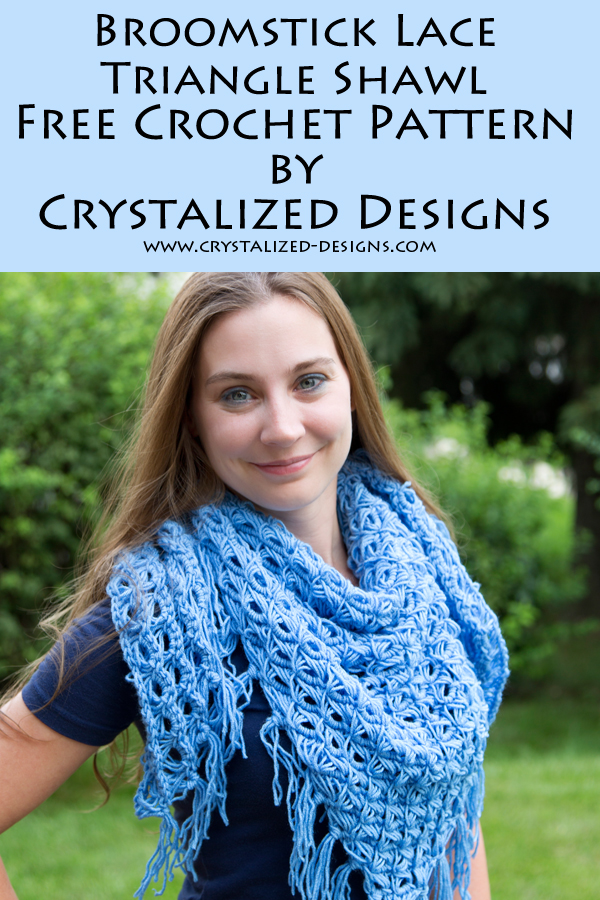 Broomstick Lace Triangle Shawl by Crystalized Designs and Chetnanigans the Groove Review by Crystalized Designs