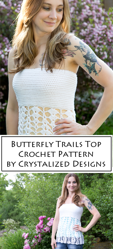 Butterfly Trails Top Crochet Pattern by Crystalized Designs