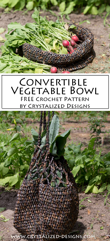 Convertible Vegetable Bowl Free Crochet Pattern by Crystalized Designs