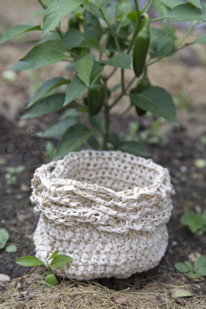 Free garden vegetable bowl bag crochet pattern