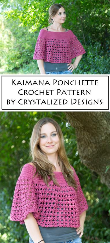 Kaimana Ponchette Crochet Pattern by Crystalized Designs