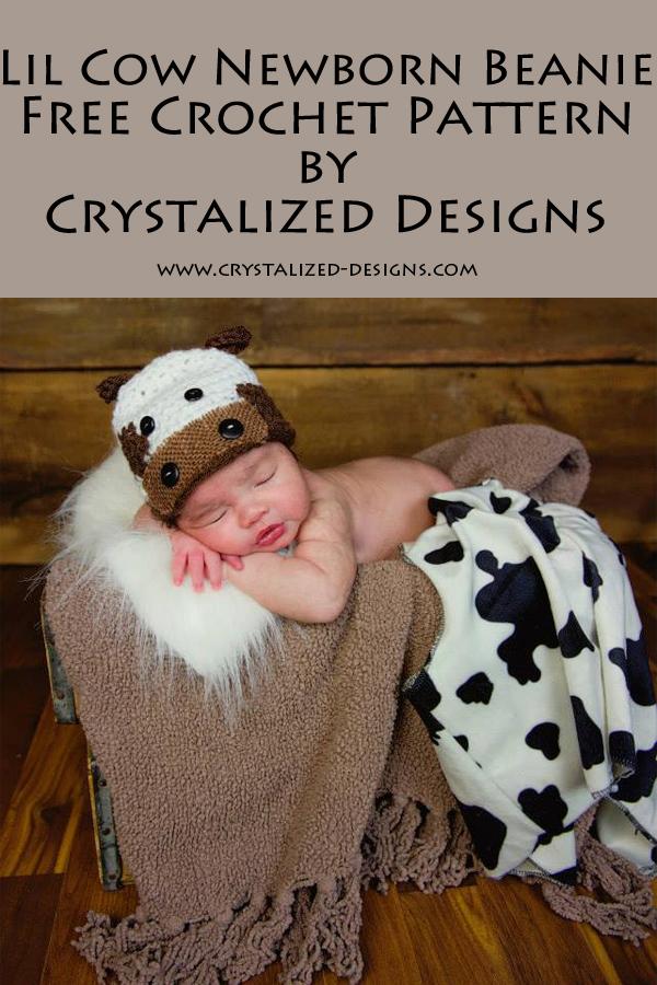 Lil Cow Newborn Beanie Free Crochet Pattern by Crystalized Designs