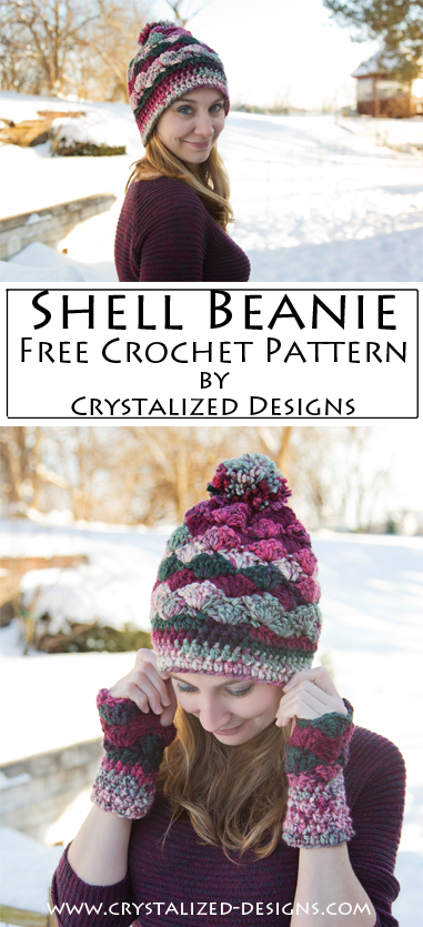Shell Beanie Free Crochet Pattern by Crystalized Designs