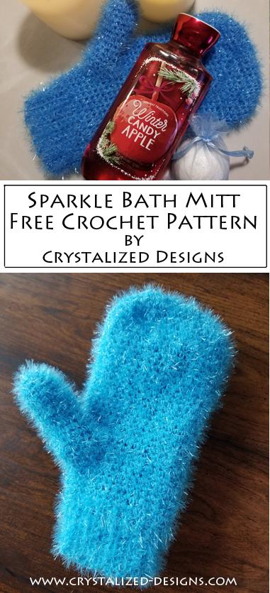 Sparkle Bath Mitt Free Crochet Pattern Scrubby by Crystalized Designs