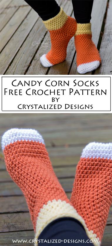 Candy Corn Socks Free Crochet Pattern by Crystalized Designs