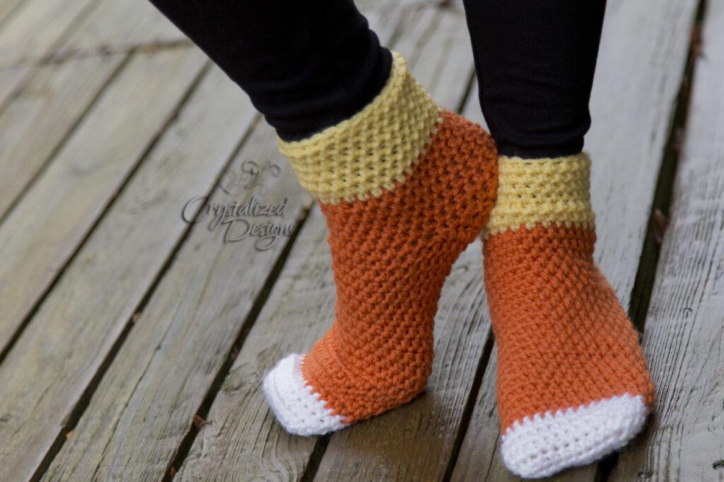 Candy Corn Socks free adult crochet pattern