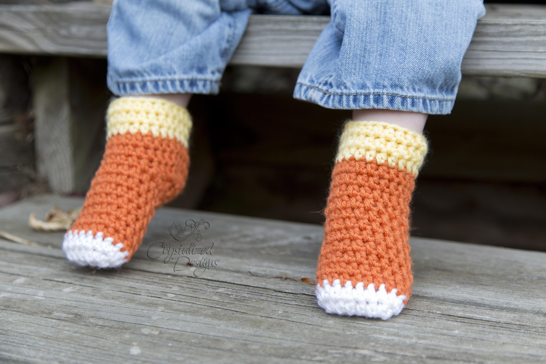 baby candy corn sock booties crochet pattern