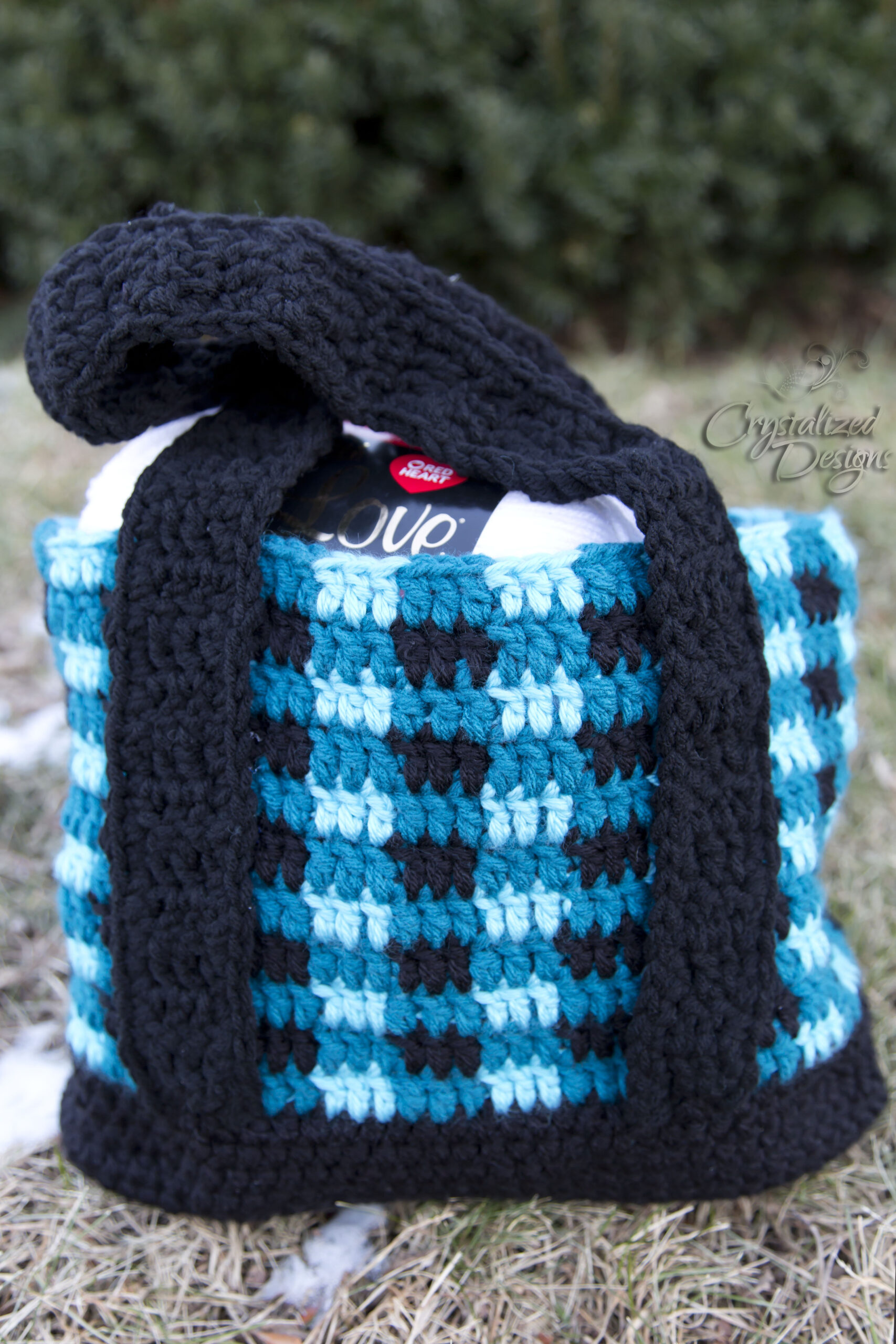 Crochet Buffalo Plaid Tote