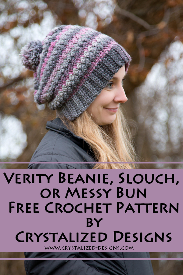 Verity Beanie Slouch or Messy Bun Free Crochet Pattern by Crystalized Designs