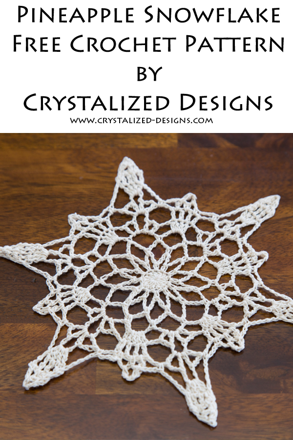 Pineapple Snowflake Free Crochet Pattern by Crystalized Designs