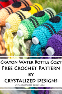 Crayon Water Bottle Cozy Free Crochet Pattern by Crystalized Designs