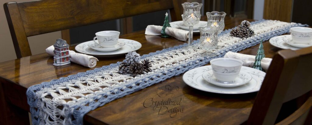 Hairpin Lace Table Runner Free Pattern ad Tutorial