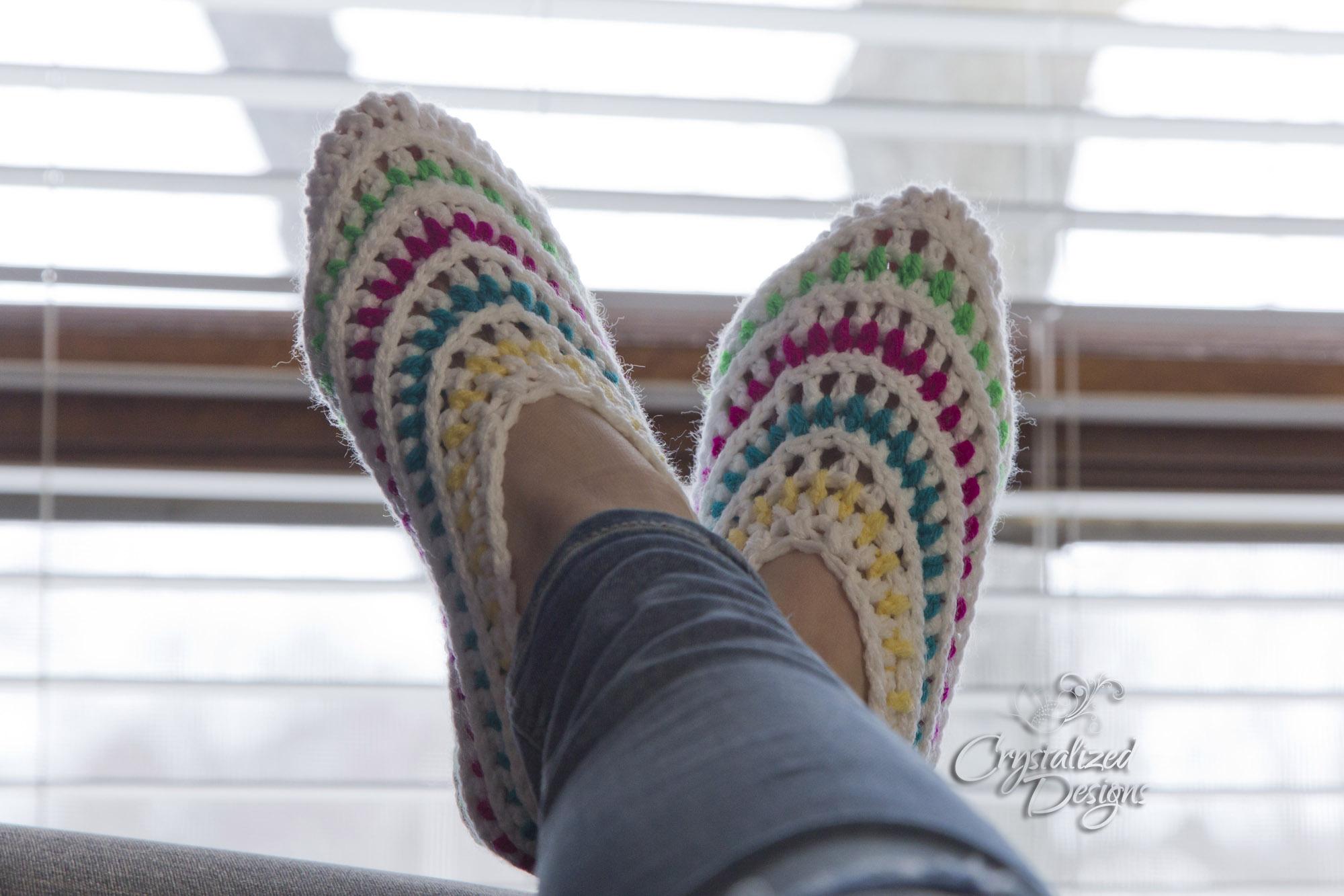 Kaleidoscope Slippers Free Crochet Pattern by Crystalized Designs