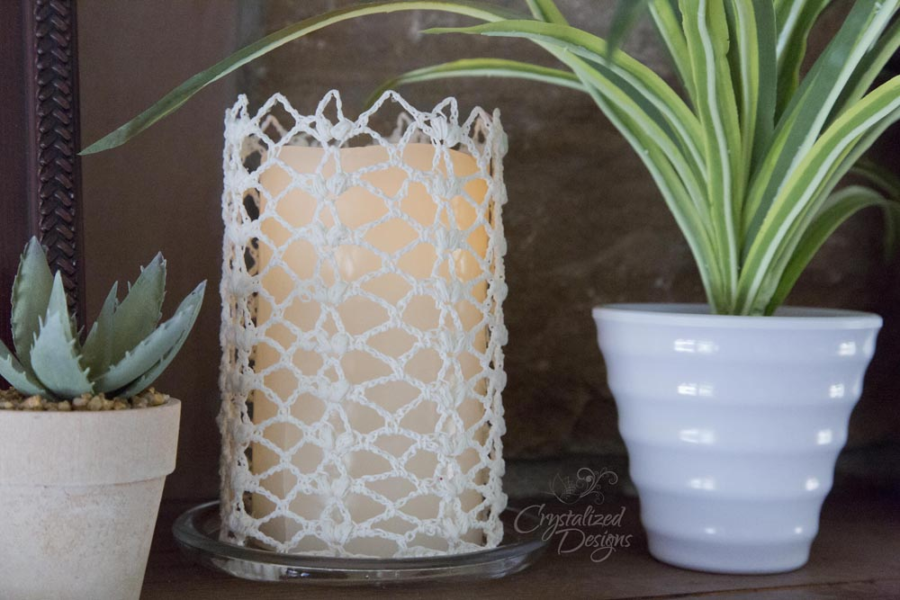 crocheted candle sleeve